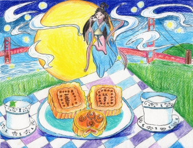 Yueshing Li / Enjoying Moon Cakes Under The Golden Gate Bridge / Honorable Mention / 4th Grade