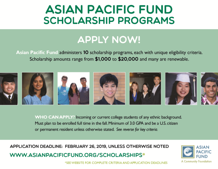 Scholarships For College Students >> Asian Pacific Fund Apply For Scholarships