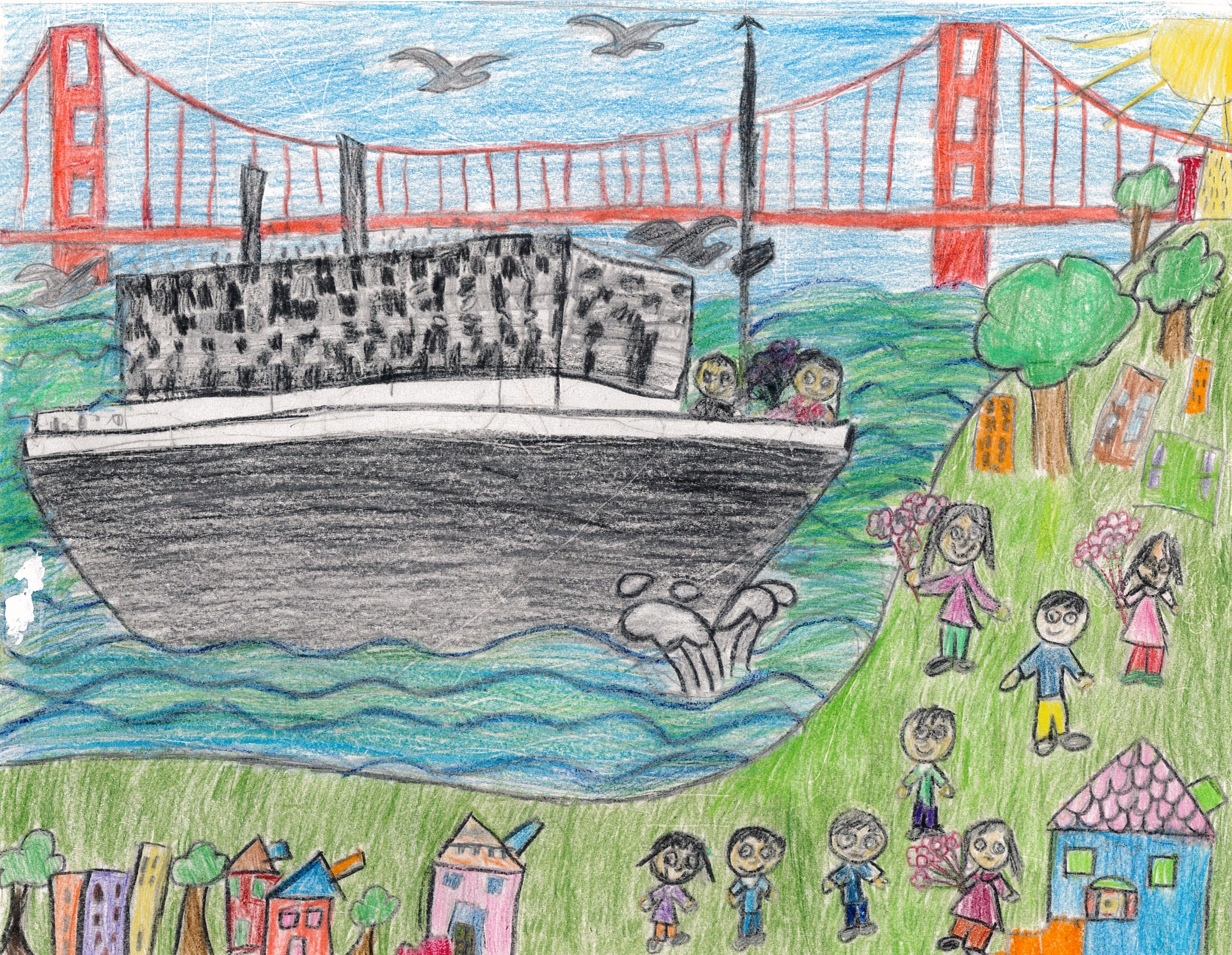 Jenna Ryan / Past Meets Present - Greeting Great-Grandmother's Boat / Honorable Mention / Grade 3